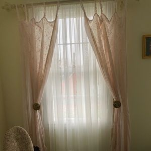 Set of Two Baby Pink Tap Top Curtains